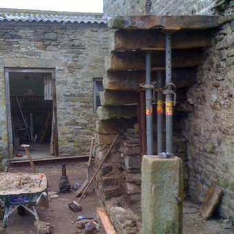 Restoration of barn steps
